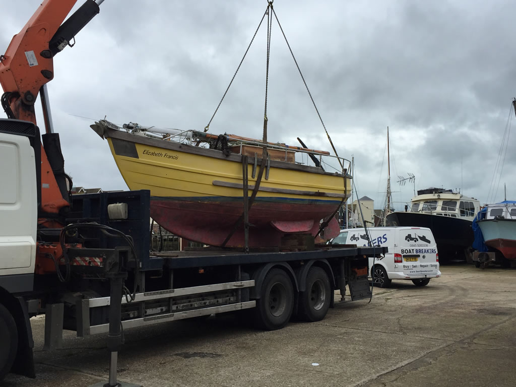 Boat Salvage - We can help arrange boat transportation to our yard