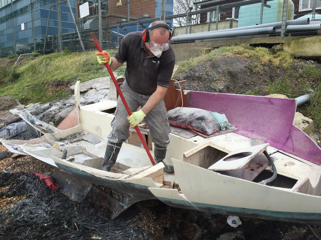 Boat Salvage - Yacht being scrapped